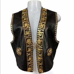 Vintage 90's Leather & Gold Hardware Vest S/M